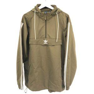Adidas Windbreaker Half Zip Hood Olive Green Sz M
